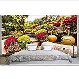 Guyuell Benutzerdefinierte 3D-Tapete Zimmer Foto Wand Edel Garten Bonsai Grünpflanzen Malerei Foto Sofa Tv Hintergrund Wand Vliestapete-400Cmx280Cm