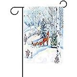 Dozili Garten-Flagge, Winter, Hipster, roter Fuchs, Dekoration für Zuhause, Wetterfest und doppelseitig, Polyester, bunt, 12.5