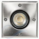 Bodeneinbaustrahler, 4er Set, mit 5 Watt LED COB - Leuchtmittel DIMMBAR in warmweiß, befahrbar Bodeneinbauleuchte, Bodenstrahler