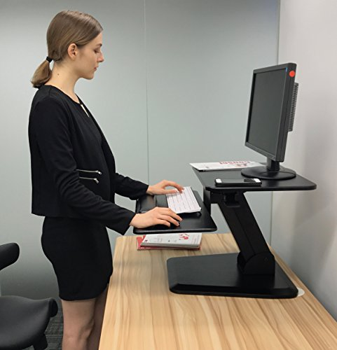 Height Adjustable Standing Desk Gas Spring Monitor Riser, Tabletop Sit to Stand Workstation Converter (2 Year Warranty)