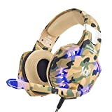 VersionTech Gaming Headset PS4 Kopfhörer Professionelle 3,5 mm PC LED-Licht Spiel Bass Kopfhörer Stereo Noise Isolation Over-Ear-Headset mit Mikrofon für PS4 Neue Xbox one Laptop Computer und Smart Phone iPhone, Camouflage