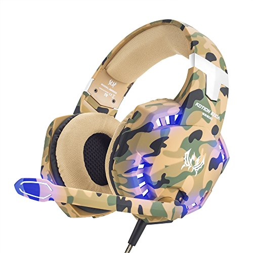 Neue Computer-laptop (VersionTech Gaming Headset PS4 Kopfhörer Professionelle 3,5 mm PC LED-Licht Spiel Bass Kopfhörer Stereo Noise Isolation Over-Ear-Headset mit Mikrofon für PS4 Neue Xbox one Laptop Computer und Smart Phone iPhone, Camouflage)