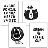 Frechdax® 4er Set Kinderzimmer Babyzimmer Poster Bilder Din A4 | Mädchen Junge Deko | Dekoration Kinderzimmer | Waldtiere Safari Skandinavisch (4er Set Alphabet, Löwe, Dream Big)