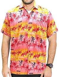 La Leela caribbean aloha hawaïen hula bouton d'homme à manches courtes camp classiques des hommes de chemise ajustement xs rouge - 5xl