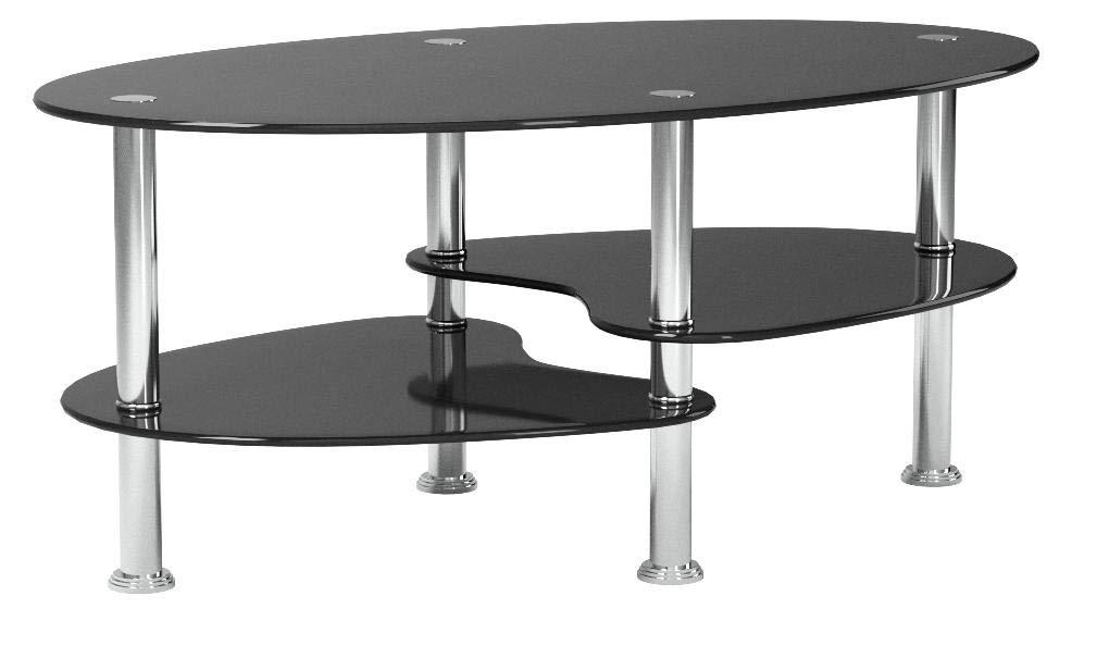 Ts Ideen Table D Appoint Noir Table Basse Ovale En Acier Inoxydable Avec Verre De Securite Trempe 8 Mm Deco Royale