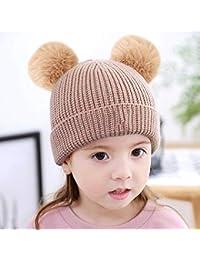 Myzixuan Sombrero de los niños Sombreros Invierno Gorras 2-5-year-old bebé  Doble Capa de Pelo Bola Gruesa… b22bbc2f5a4