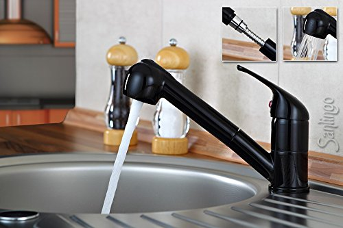 Sanlingo Extendable Shower Kitchen Mixer Tap Gloss Black