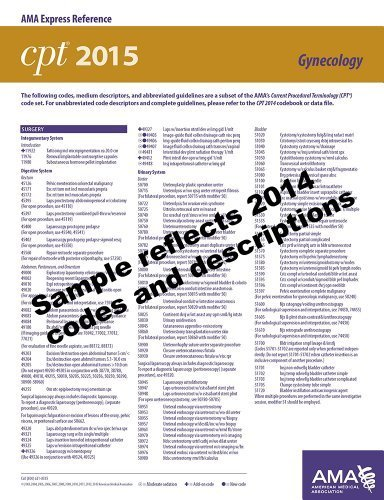 CPT 2015 Express Reference Coding Card: Gynecology 1st Edition by AMA, American Medical Association (2014) Cards