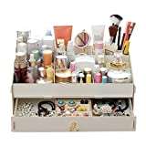 outflower Holz Beauty Organizer Kosmetik Zubehör Make Up Aufbewahrungsboxen Floral B, holz, weiß, 36.5*23.2*13.2CM