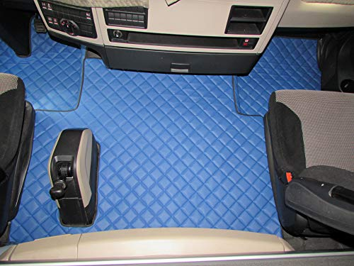 Texmar LKW Fußmatten Links für Man TGX 2018 + Euro 6 AUTOMAT blau Eco Leder