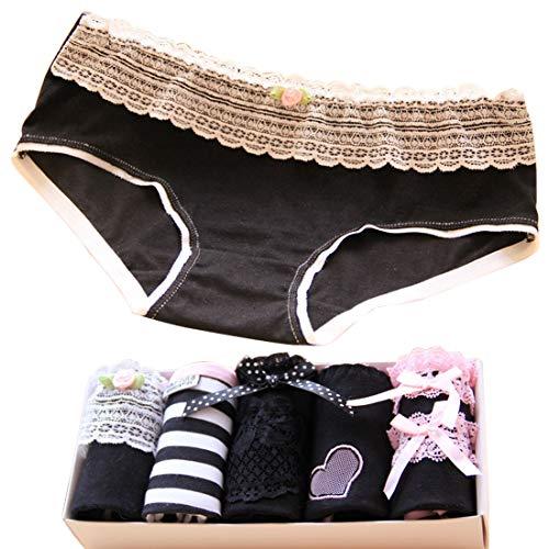 LORYLOLY Braguitas Culotte Algodón Mujer Lote de 5, Ropa Interior Algodón de Encaje, Calzoncillos Pantalones Bikini Bragas sin Costuras para Señora Delgada