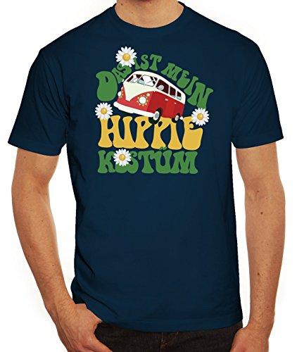 ShirtStreet Fasching Karneval Herren T-Shirt mit Das ist Mein Hippie Kostüm Motiv, Größe: XL,Dunkelblau (Halloween-kostüm Hippie)