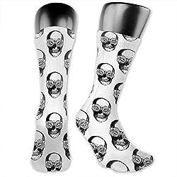 Calaveras y rosas calcetines de atletismo para hombre y para mujer, en blanco y negro