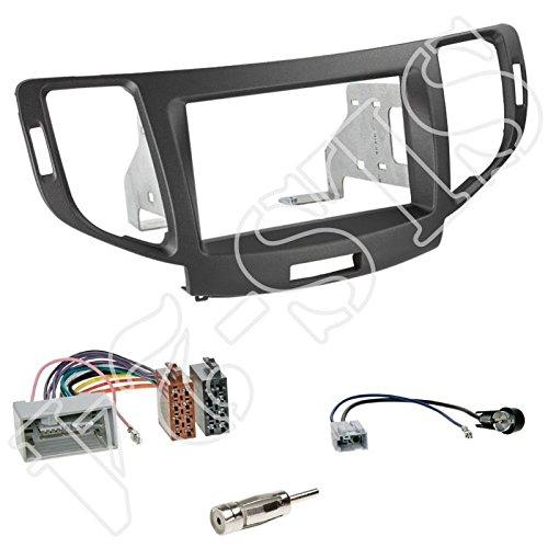 Einbauset : Autoradio Doppel-DIN 2-DIN Radioblende Radio Blende Halterung anthrazit + ISO Radioanschlusskabel Radio Adapter + Antennenadapter für Honda Accord (CU/CW) Facelift ab 04/2011