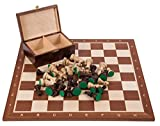 Pro Schach Set Nr. 5 SQUARE - Mahagoni - Schachbrett + Schachfiguren Staunton 5 + Kasten - Schachspiel aus Holz