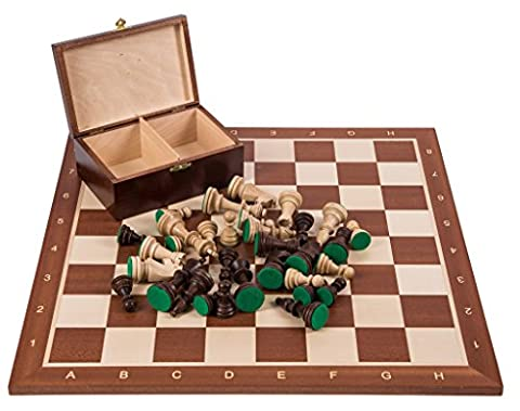 Pro Wooden Chess Set No. 5 - SQUARE Mahogany - Chessboard & Chess Pieces Staunton 5
