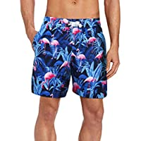 Men's Swim Shorts Quick Dry Swimming Trunks Print Board Shorts with Meshlining (Above Knee Length)