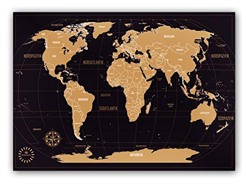 Weltkarte zum Rubbeln - Kronewerk - Deutsch - Kreatives Geschenk für Vielreisende inkl. eine edle Zylinderbox, XXL Poster, World map for Scratching, Landkarte zum Freirubbeln, Top Geschenkidee (Sprachen Weltkarte)