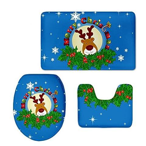 Chaqlin Tapis de Père Noël 3pcs/Ensemble de Couvertures de toilette Tapis de bain Moquette cadeaux de Noël