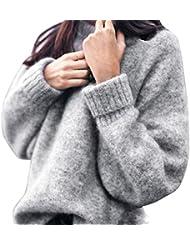 Tricot Chandail,LMMVP Femmes Velours de lapin Sweater Hauts à Manches Longues Chandail Casual Tricots en Vrac Pull (S, gris)