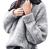 Tricot Chandail,LMMVP Femmes Velours de lapin Sweater Hauts à Manches Longues Chandail Casual Tricots en Vrac Pull (M, gris)