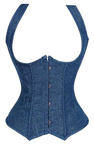 Femme Underbust Corset Vest Minceur Cowboy Bustier Taille Gris Pas Cher Lingeries Tops Jean Bleu 2XL