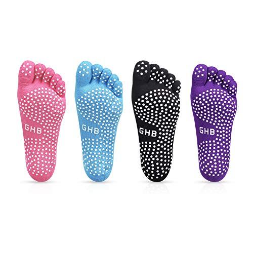 GHB Pilates Socken mit Zehen Rutschfeste Sportsocken mit Gummisohlen Atmungsaktivität ideal für Yoga Tanz Fitness von Größe 36 bis 42 (Verpackung MEHRWEG) (4Farbe,36 bis 40)