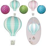 LS-LebenStil LS Design Lampenschirm Papierlampe Lampion Heissluft-Ballon Japanballon Blau-Grün Weiss 40cm