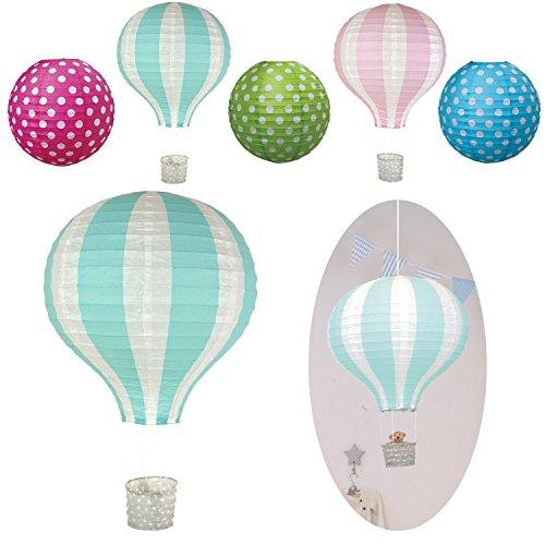 LS Design Lampenschirm Papierlampe Lampion Heissluft-Ballon Japanballon Blau-Grün Weiss 40cm LS-LebenStil