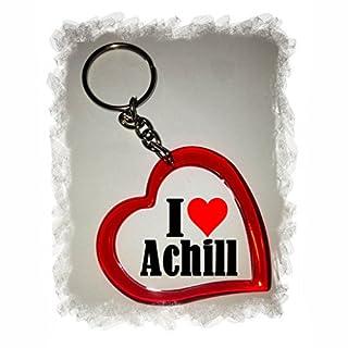 Druckerlebnis24 Exklusive Geschenkidee: Herzschlüsselanhänger I Love Achill, Eine Tolle Geschenkidee die von Herzen Kommt - Rucksackanhänger- Liebesanhänger- Weihnachts Geschenktipp