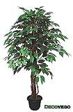 Ficus Benjamin Birkenfeige Kunstpflanze Kunstbaum Künstliche Pflanze mit Echtholz 110cm Decovego