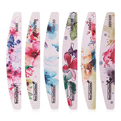 TANGADYL 6 Stücke Professionelle Nagelfeile, Bunte Kreative Druck Schleifpapier Pufferblöcke Gel Polieren Schleifwerkzeuge Für Maniküre Tipps