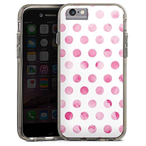 Apple iPhone 6s Bumper Hülle Bumper Case Glitzer Hülle Punkte Spring Pink Bumper Case transparent grau