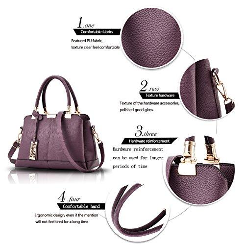 Tisdaini Il raccoglitore elegante del sacchetto di spalla della borsa delle donne tre strati delle borse molli della borsa del sacchetto dell'unità di elaborazione di modo Viola profondo