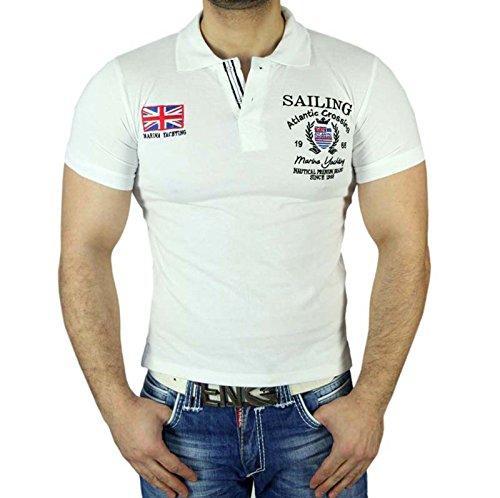 BLUEBERY Blue Bery V-Neck Herren T-Shirt V-Ausschnitt Slim Fit Freizeit Kurzarm 1806 Neu Weiß_1