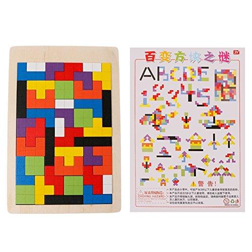 Lamdoo Jigsaw Tangram Baustein Holz Tetris Puzzle Spiel Kinder Pädagogisches Spielzeug