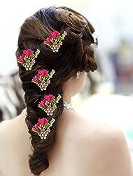 AASA Bridal Hair Accessories Juda Pins, Hair Pins Party Wear, Pink, 20 Gram, 5 Pcs, Pack of 1