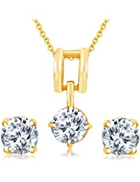 Sukkhi Dazzling Gold Plated Solitare Pendant Set For Women