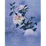 A.Monamour Vintage Mottled Floral Flower Print 5x7ft Fabric Vinyl Photography Backgrounds Winter Snow Flower