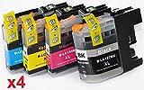 Prestige Cartridge LC-127XL/LC-125XL 16er Pack Druckerpatronen für Brother DCP J132W J152W J552DW J752DW J4110DW MFC J245 J470DW J650DW J870DW J4410DW J4510DW J6720DW schwarz cyan magenta gelb