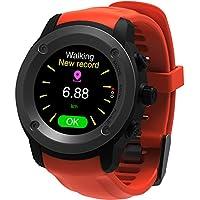 Parnerme Sports GPS Montre avec Dynamique de la fréquence cardiaque prévision météo Smart Watch Compatible iOS 8.0 et Android 4.4 et au-dessus avec 3-4 Jours de veille station de chargement(Orange)