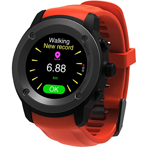 Parnerme Man Woman Sports GPS Running Watch with Heart Rate Monitor Smart Notifications Weather Forecast GPS Location Outdoor Navigation Smart Watch with 3-4 Days Standby Time Charging Station(Orange)