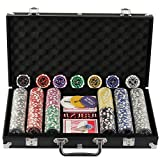 Display4top Super set da poker - 300 chips laser da 12 grammi con centro in metallo,2 mazzi di carte, mazziere, piccoli ciechi, Grandi pulsanti ciechi e 5 dadi (300 chips)