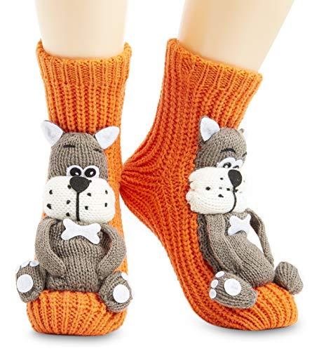 CityComfort Calcetines Antideslizantes Mujer, Zapatillas de Casa Punto Invierno Mullidos de Animales Unicornio Pingüino Gato, Calcetín Gordo Mujer Suave, Regalos Para Mujeres Niñas (Naranja)