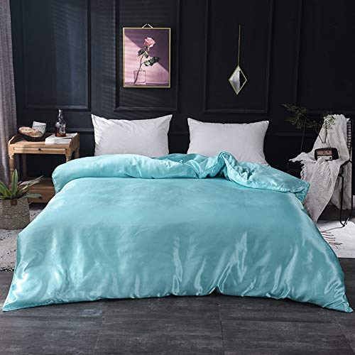 LIYIMING 1Pcs Duvet Cover Solid Color Satin Silk Single Double Queen King Quilt Cover Advanced Home Bed Soft Qualified Comfortable (200x230cm 1Piece,A14) -