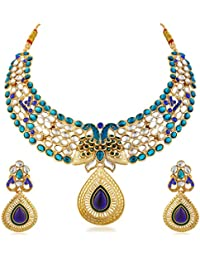Apara Peacock Bridal Blue Austrian Diamond And Kundan Necklace Set For Women