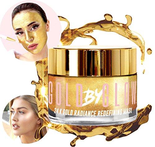 24K Gold Radiance Redefining Gesichtsmaske Kollagen Hyaluronsäure Vitamin A C E Koffein Glyzerin Repellierende Anti-Falten-Straffung Beruhigende Moisturizing Glowing Gesichtsbehandlung 100 ml | GOLD BY GLOW (Maske Intensive Aufhellung)