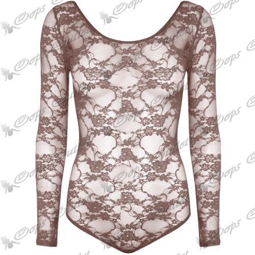 Damen Langärmlig Volle Spitze Netz Blumenmuster Turnzug Bodysuit T-shirt Top Türkis - Floral Saldiert Muster Spitze
