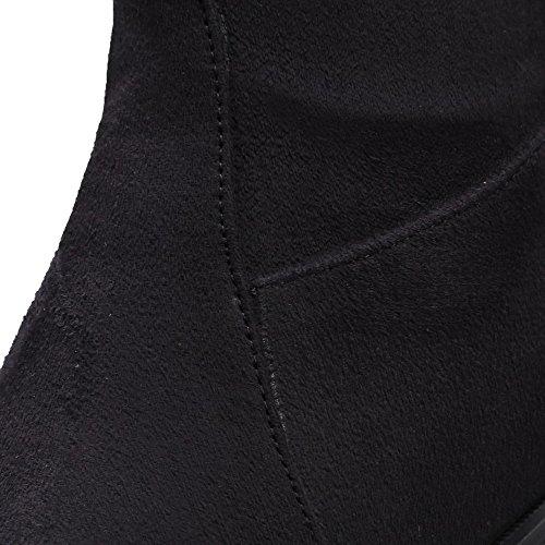 VogueZone009 Femme Couleur Unie Suédé à Talon Correct Tire Pointu Bottes Noir