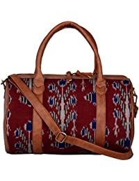 Kalamargam Collective Handwoven Ikat & Vegan Leather Multicolour Softsided Travel Duffle (KC-DB52)